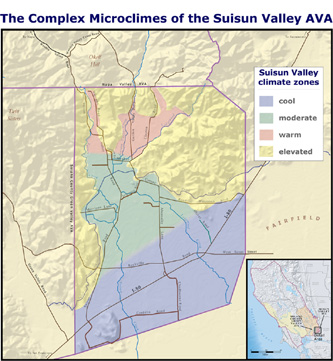 The Suisun Valley AVA's diverse climatic zones